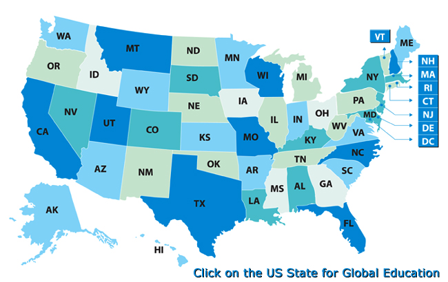 College University Admission in USA by ISS Global Education USA Map